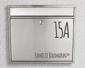 """Letterbox name tag """"Name with house number"""" sticker"""