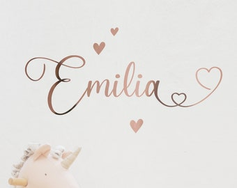 """Wall decal wall sticker """"wish name"""" metallic foil or colored, name lettering also usable as furniture tattoo or door sign"""