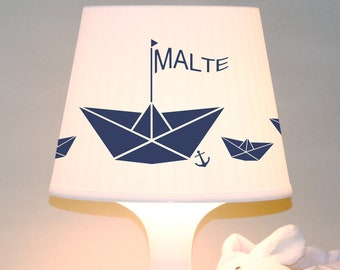 """Children's lamp slumber lamp """"paper boat with name"""" boat, personalized table lamp"""