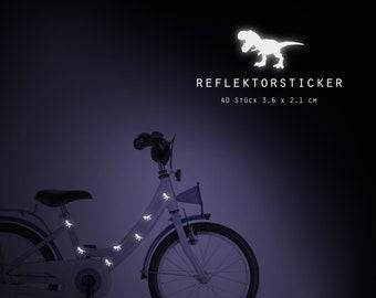 "Reflector bicycle tattoos ""T-Rex Dinosaur"" 40 pieces reflective sticker, bike, waterproof"