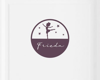 """Door sign door sticker """"Ballerina with desired name"""" circle with name, customizable, can also be used as wall decal or furniture decal"""