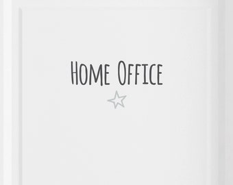 """Door sign """"Home office"""" with star, heart or anchor selectable, self-adhesive"""
