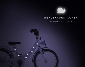 """Reflector bicycle tattoos """"racing snail"""" 60 pieces reflective sticker, bike, waterproof"""
