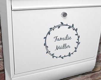 """Letterbox name plate """"wreath with name"""" sticker customizable"""