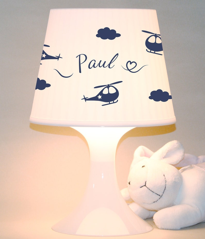 Baby lamp helicopter with name table lamp image 0