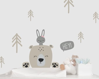 """Wall decal wall sticker """" Forest Animals Bear & Bunny"""" color customizable"""