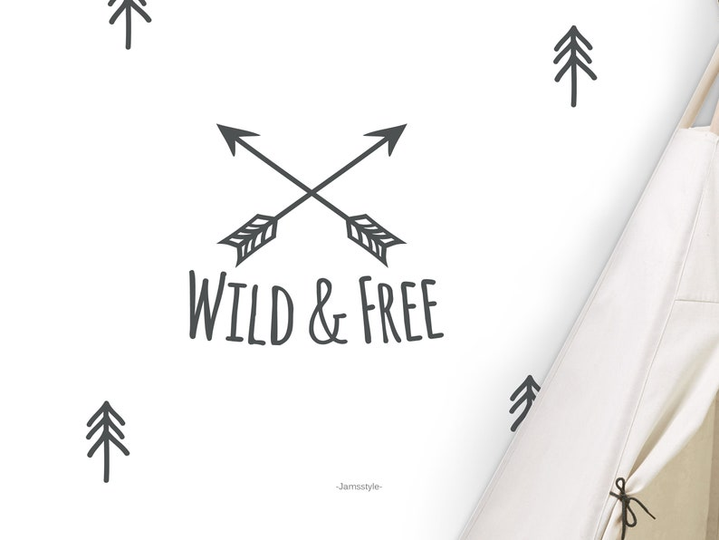 Wall decals stickers Wild & Free Sizes L and XL image 0