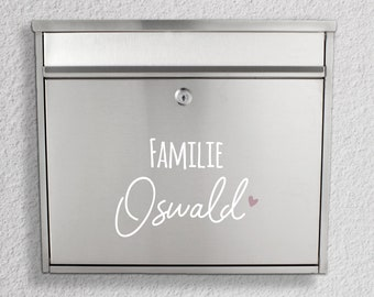 """Mailbox Name tag """"Family + Name"""" with heart or anchor, sticker"""