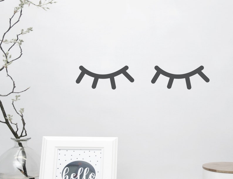 Wall decal wall sticker Sleepy eyes eyelashes 2 image 0