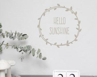 "Wall decal wall sticker ""Hello sunshine"" size S-M, Hello Sunshine, Sticker customizable"