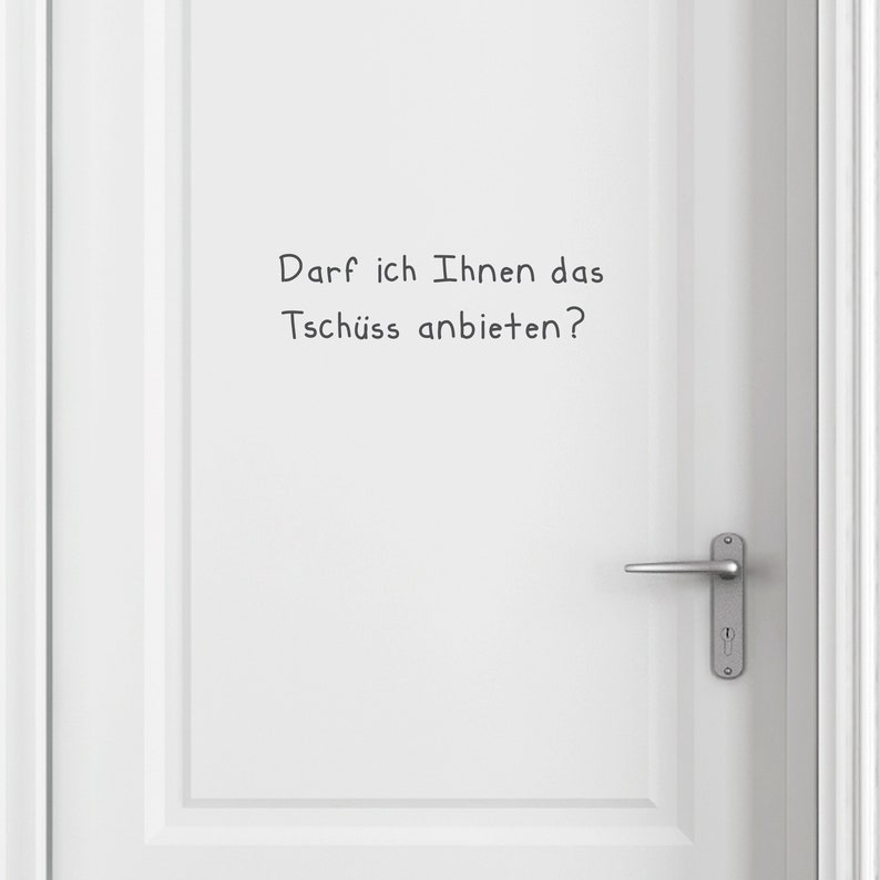 Door sticker door tag lettering Tschüss size and image 0