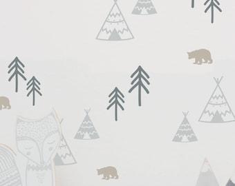 """Wall sticker wall decal """"Wild life"""" wilderness, teepees, fir trees, bear"""