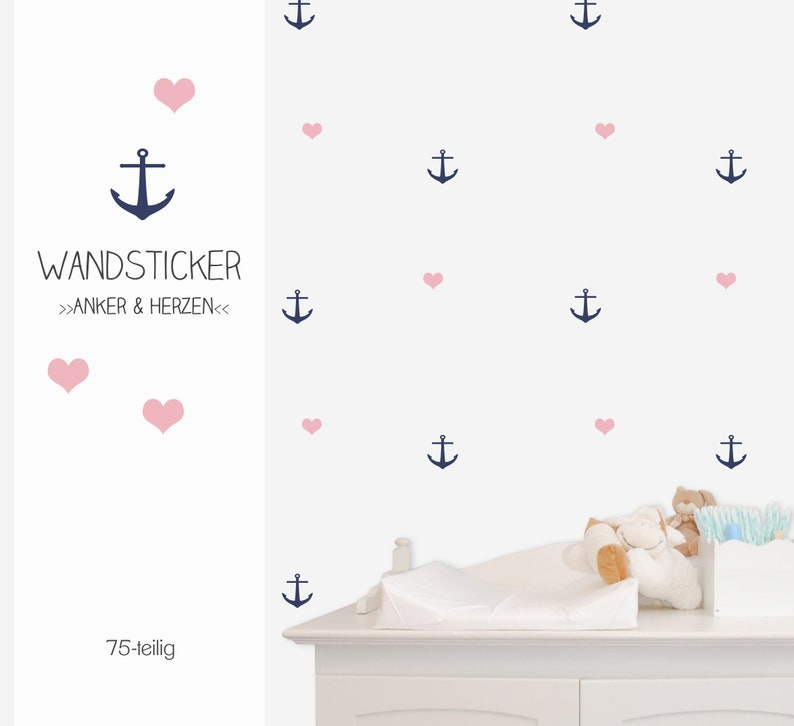 Wall Sticker Decal Anchor & Hearts 75-piece image 0