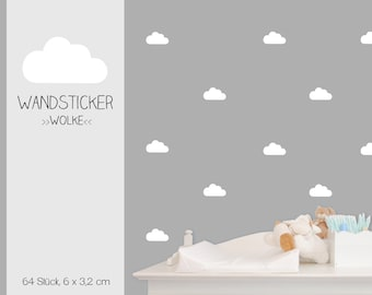 """Wall sticker wall decal """"Clouds"""" clouds, vinyl decals, 64 pieces"""