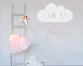 """Wall decal wall sticker """"cloud with hearts"""" name customizable"""