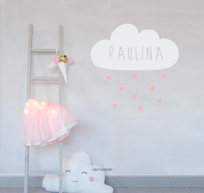 Wall decal wall sticker cloud with hearts name image 0
