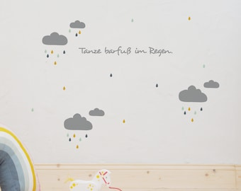 """Wall decal wall sticker """"Dancing barefoot in the rain"""" clouds, raindrops, drops, stickers customizable"""