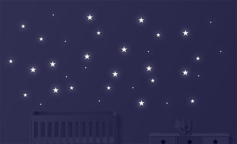 Wall tattoo Stars phosphorizing 146-piece image 0