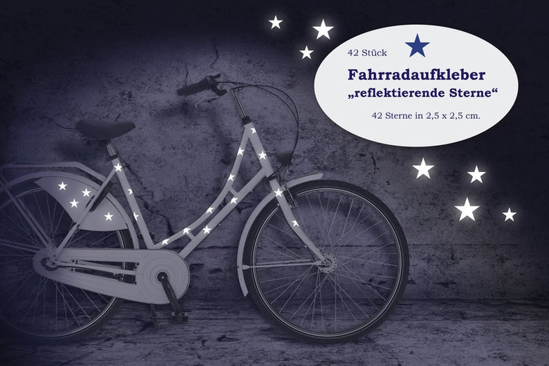 Reflector Bicycle Tattoo Bicycle Sticker Stars 42 image 0