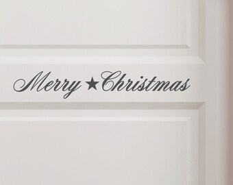 """Door sign """"Merry christmas"""" shabby chic, wall decal, wall stickers, vinyl decals, Christmas"""