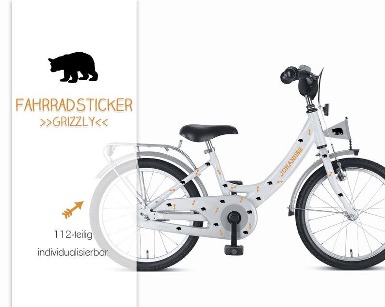 Bike sticker sticker Grizzly with name 112-piece image 0