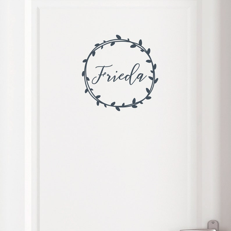 Wall decal door sign wreath with name wish name image 0