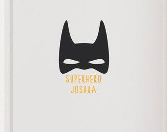 "Door sign ""Superhero with name"" superhero, wall decal, name plate"