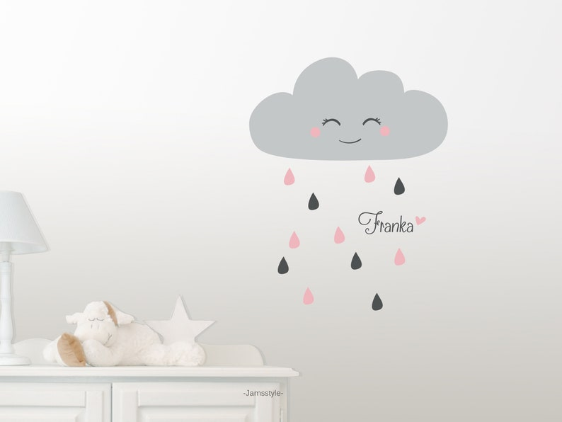 Wall decal wall sticker small rain cloud cloud image 0