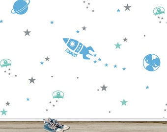 """Wall decal """"Space"""" with desired name, 174-piece, stickers, stickers"""