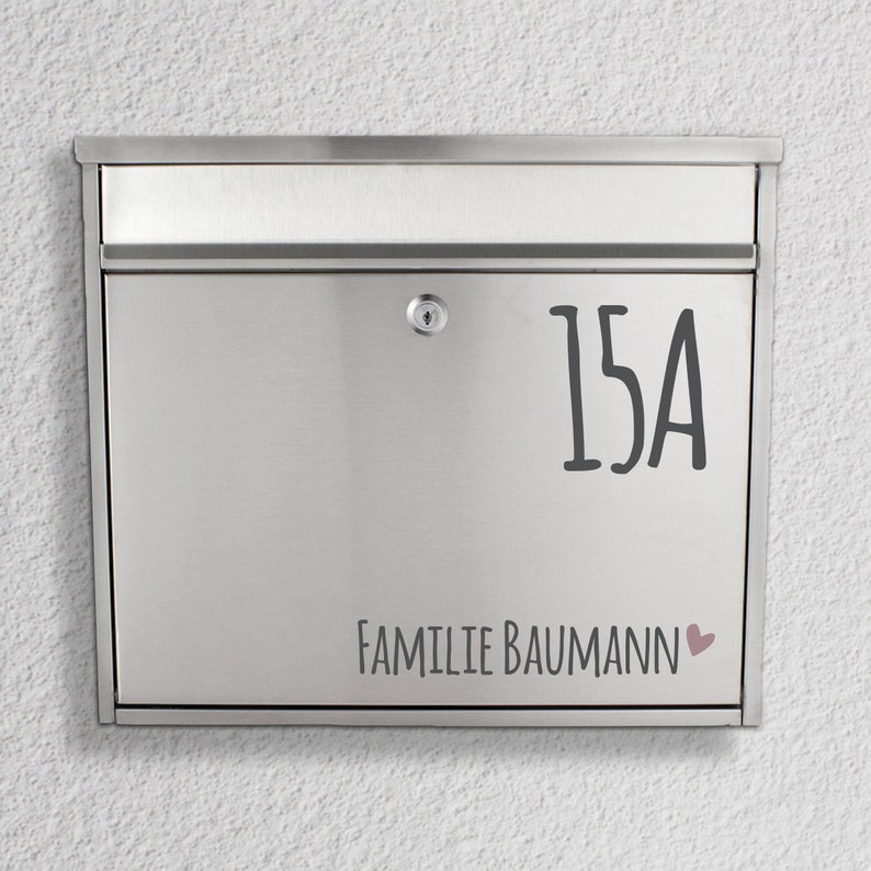 Letterbox name tag Name with house number sticker image 0