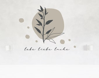 """Wall decal wall sticker """"Live love laugh"""" polka dots, twigs, line art, color and size selectable"""