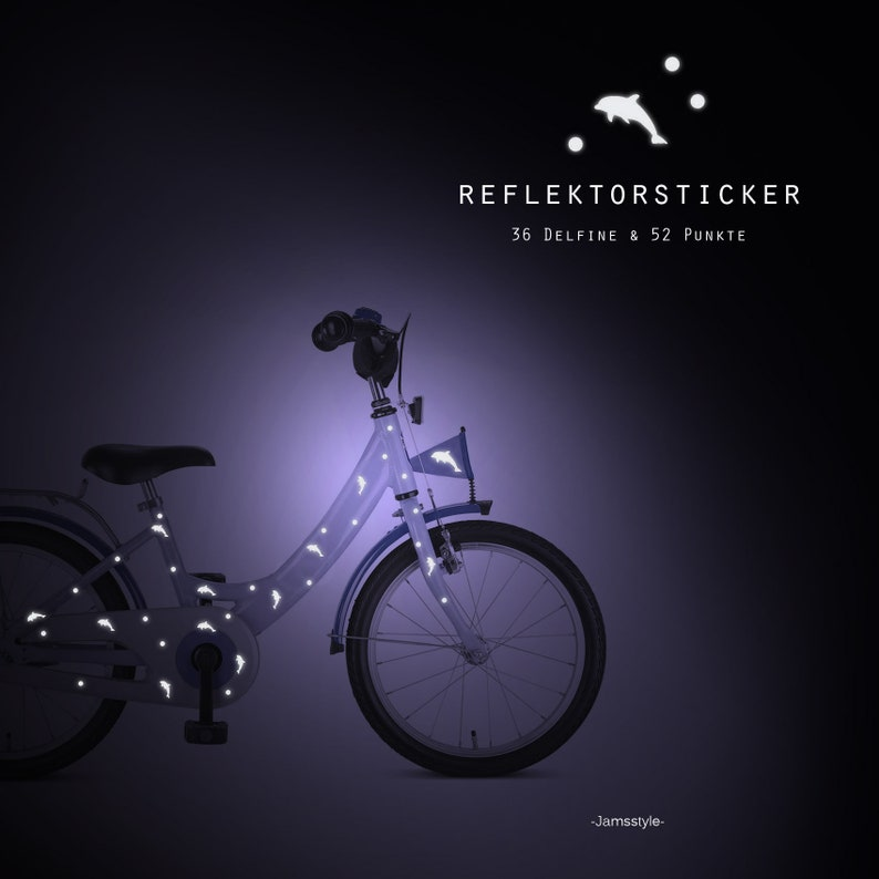Reflector bike tattoos Delfine dolphin reflective image 0