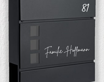"""Mailbox Name plate """"Family + Name"""" with house number, sticker"""