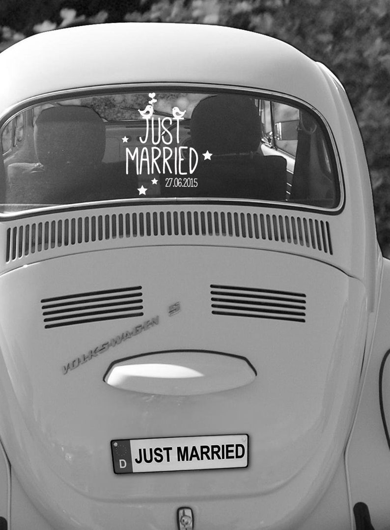 Bumper sticker Wedding Just married with date image 0