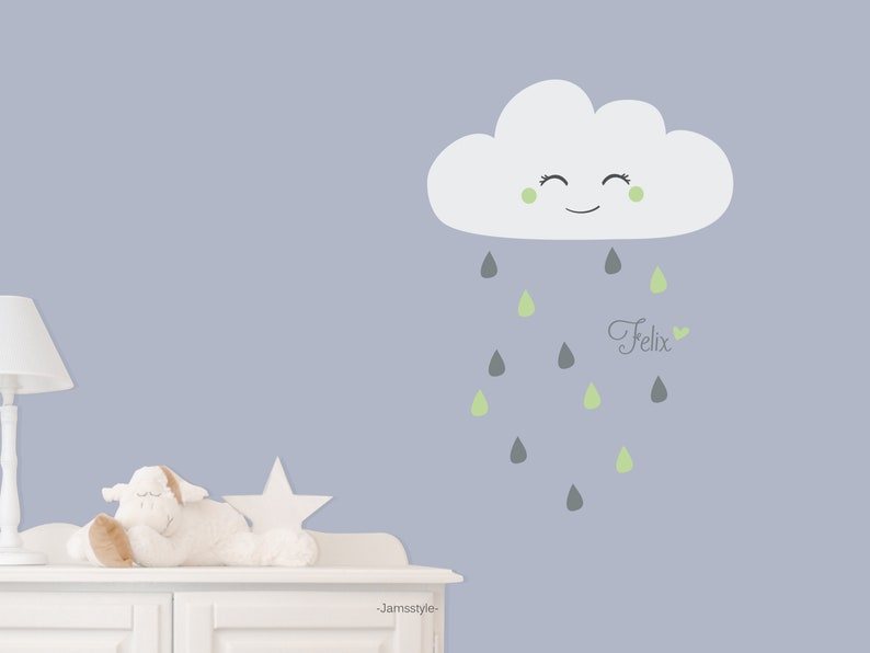 Wall sticker Small rain Clouds cloud with name image 0