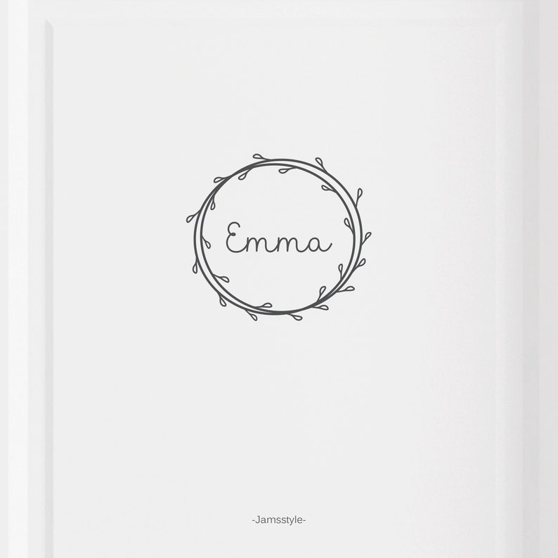 Door & wall sticker wreath with name customizable image 0