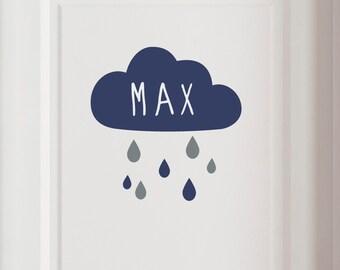 """Door sign """"Rain cloud with name"""" wall decal customizable"""