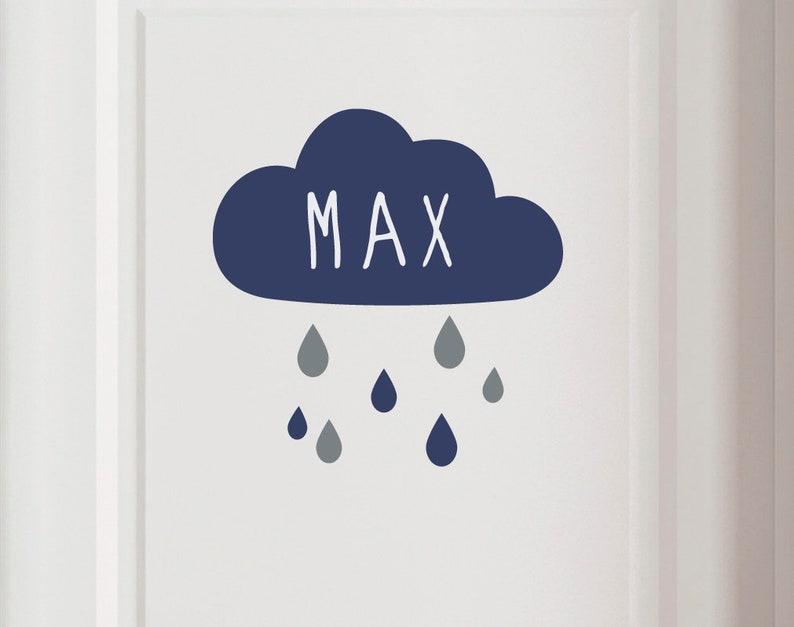 Door sign Rain cloud with name wall decal image 0