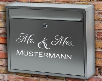 """Letterbox Name Tag """"Mr. & Mrs."""", Stickers, Stickers, VinylDecals"""
