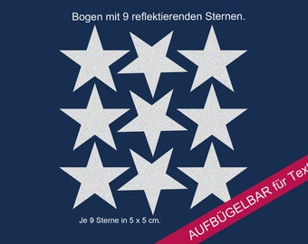 """Ironing image appliqué reflector star"""", reflective ironing pictures stars, stars"""