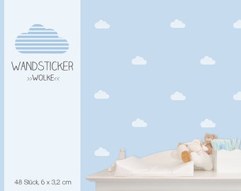 """Wall sticker wall decal """"cloud striped"""" 48 pieces"""