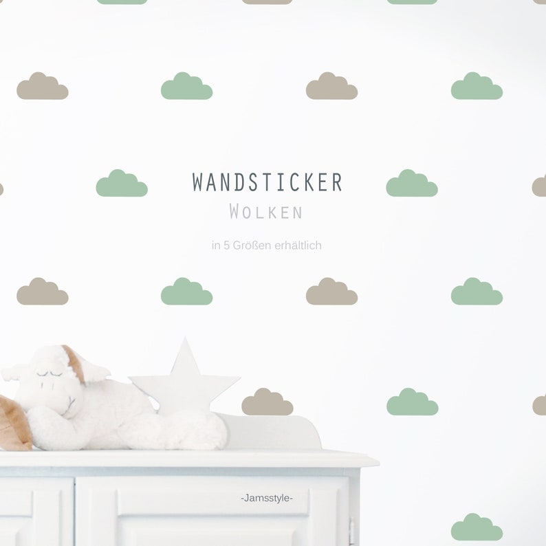 Wall tattoo wall sticker Clouds 5 sizes color image 0
