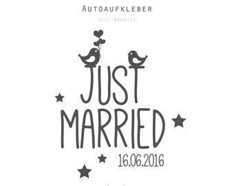 "Car Sticker Wedding ""Just Married"" with Date, Size L-XL, Tattoo, Sticker"