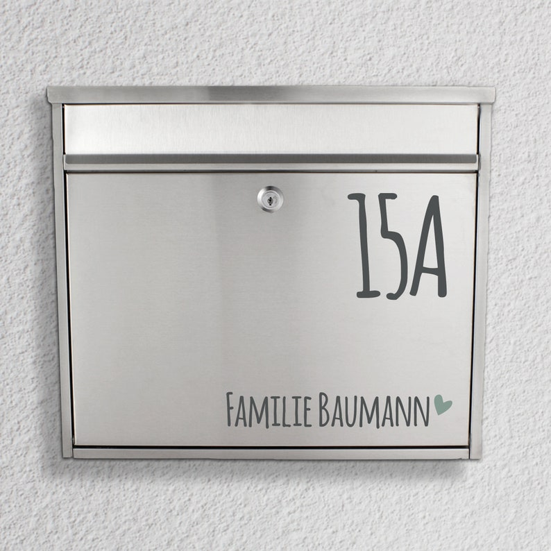 Mailbox name plate Name with house number sticker Herz