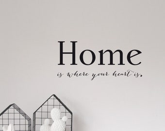 """Wall stickers, wall decal """"Home is where your heart is"""", sizes S and M"""