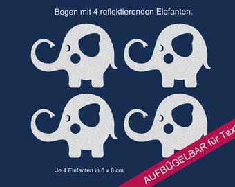 """Ironing image appliqué reflector """"elephant"""" elephant, reflective ironing pictures"""