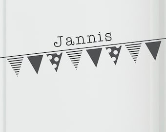 """Door sign """"pennant chain with name"""", sticker, wall decal, furniture sticker, sticker"""