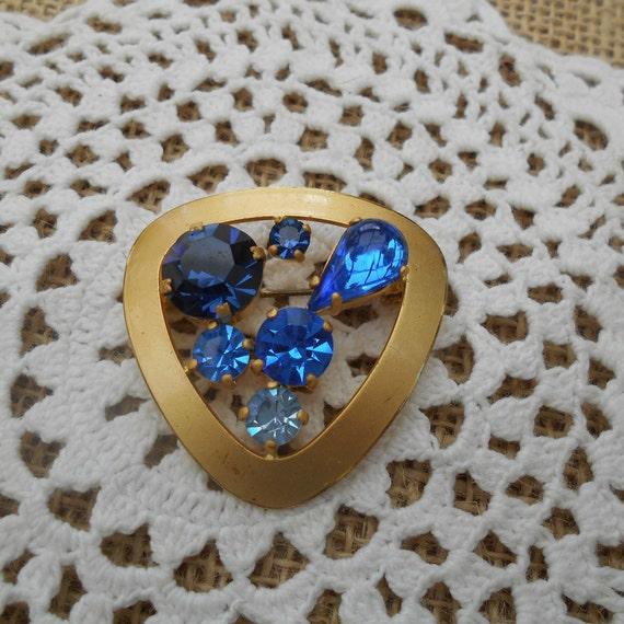 Vintage Brosche goldfarben Metall blaue Steine Mod
