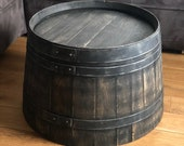 Wine Barrel Coffee Table Shabby Black - Half Wine Barrel