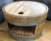 Wine barrel coffee table with wooden lid and base oiled